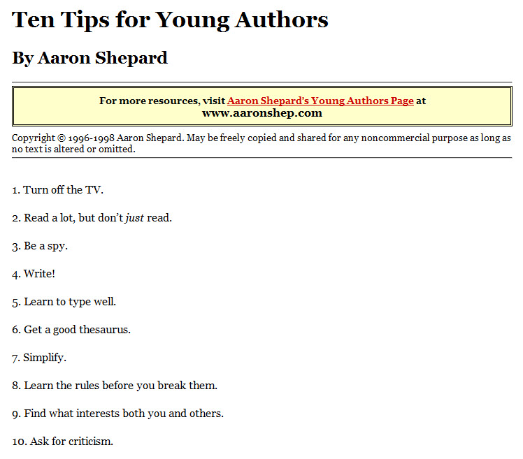 Tips for Young Authors by Aaron Shepard