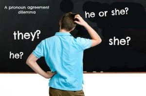 Confused student at the blackboard