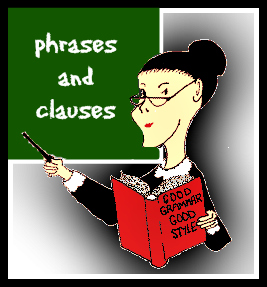 Miss Grammar cartoon with book