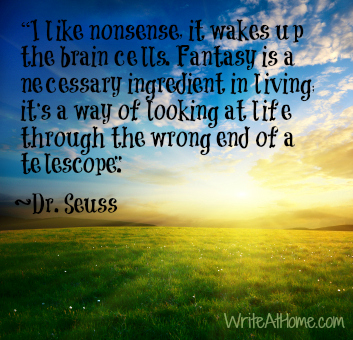 sunlit landscape and quote by Seuss