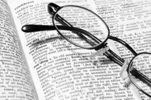 Reading glasss on open dictionary