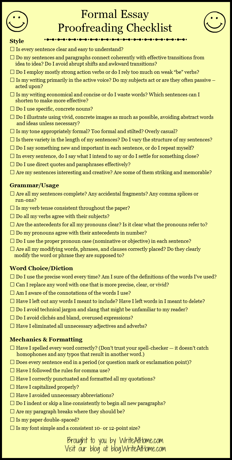 essay mechanics checklist - personal essay checklist august 20, 2008 august 20, 2008 / jelizabeth here's a great criteria checklist for the personal essay genre, whether you're writing them or teaching students how to write them.